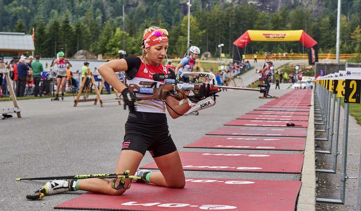 Franziska Preuß bei der Deutschen Meisterschaft Biathlon im ARBERLAND